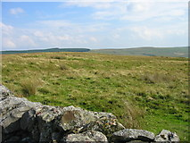 NY5775 : Moorland and Cairn near Moss Bank by Les Hull