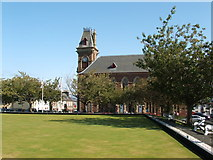 NX4355 : Wigtown Town Hall from the bowling green by David Wild