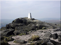SD9716 : Trig point on summit of Blackstone Edge by Phil Champion