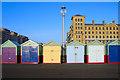 TQ2904 : Beach Huts, King's Esplanade by Simon Carey