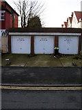 TQ2804 : Garages, Sackville Road by Simon Carey
