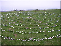 SZ0481 : Stone Labyrinth on Ballard Down by Thomas Wood