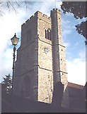 TQ8485 : St. Clement's, Leigh - Tower by John Myers