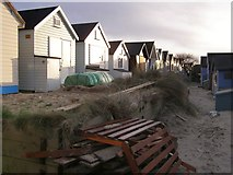 SZ1891 : Between the beach huts, Mudeford Spit by Jim Champion