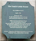 NS2876 : Plaque at Dutch Gable House by Thomas Nugent