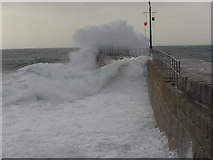 SW6225 : Rough Sea on a high tide, Porthleven Pier, Cornwall by Ruth Sharville
