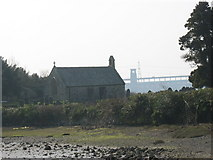 SH5571 : Eglwys St Tysilio Church from the causeway by Eric Jones
