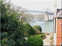 SH5571 : Pont y Borth viewed past the gable of Telford House by Eric Jones