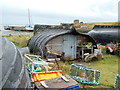 """NU1241 : Holy Island """"Boat"""" sheds by Peter Evans"""