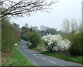 SO8485 : Hyde Lane, approaching the A458 near Stourton by Roger  Kidd