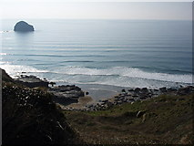 SX0486 : Trebarwith Strand and Gull Rock by Eleanor Oakley