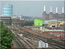 TQ2976 : Railway Lines and Industry, Nine Elms by Danny P Robinson