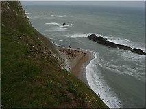 SY8080 : Cliffs, beach and rocks by Hugh Venables