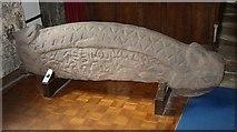 SD4161 : Hogsback tombstone, St Peter's Church, Heysham (2) by Humphrey Bolton