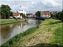 TF3244 : Footbridge on the River Witham, Boston by Dave Hitchborne