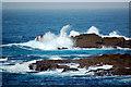 SW3426 : Crashing waves over Cowloe Rocks by Mari Buckley