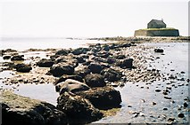 SH3368 : Isthmus to St. Cwyfan's Chapel by Chris Downer