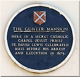 SO3014 : Abergavenny - plaque on the Gunter House by Roy Parkhouse