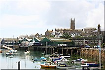 SW4730 : Penzance Harbour and Church by Tony Atkin