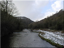 SK1273 : River Wye looking upstream towards the stepping stones by David Sands