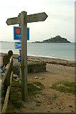 SW5031 : Signpost on the Cornish Coast Path at Long Rock by Mari Buckley