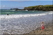 SW5842 : Surf at Gwithian Sands, St Ives Bay by Jim Champion