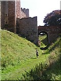 TM2863 : The Tudor bridge over the dry moat at Framlingham Castle by Jonathon Stenner