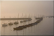 SZ3394 : Leaving Lymington harbour in early morning mist by Peter Facey
