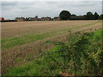 TG2815 : View across harvested field from Dobb's Lane by Evelyn Simak