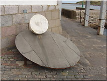 """NJ9505 : """"Egg on a plate"""" sculpture by Aberdeen Harbour by David Hawgood"""