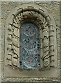 NY4348 : Wreay Church - window with insects and birds by Rose and Trev Clough