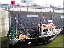 ST1972 : Fishing boat in lock by Derek Jones