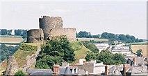SX3384 : Launceston: castle over rooftops by Chris Downer