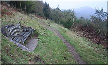 SO7641 : Junction of Paths and Memorial Seat by Bob Embleton