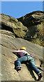 SK2476 : Climbing Three Pebble Slab at Froggatt Edge by J147