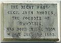 TL4920 : Cecil Rhodes Plaque by Thomas Nugent