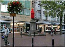 NY4055 : Statue in knitted dress, English Street, Carlisle by Rose and Trev Clough