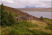 NB9908 : Ruined cottages above Ardnagoine, with Suilven in the background by Ian Capper