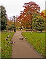 TQ3296 : Footpath to Millennium Fountain, Enfield by Christine Matthews