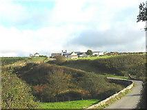 SH1727 : View across the Cyllyfelin Valley towards Bodernabwy Farmhouse by Eric Jones