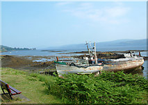 NM5643 : Old fishing boats near Aros Castle, Mull by sylvia duckworth
