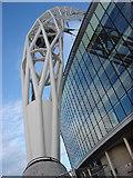 TQ1985 : Wembley Stadium Arch, Western Pier by Oxyman