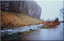 SD9768 : Floods at Kilnsey Crag by sylvia duckworth