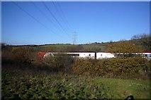 SX5656 : Westbound train on Hemerdon Bank by Nigel Mole