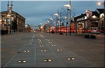 J3474 : Ground lights, Queen's Square, Belfast by Albert Bridge