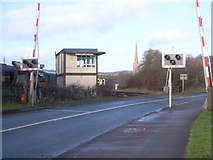 SO6302 : Lydney Junction signal box & church in background by Nick Mutton