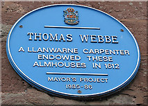 SO5923 : Blue plaque on the Webbe Almshouses, Copse Cross St. by Pauline E