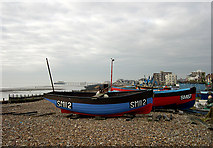 TQ1602 : Boats on the Beach, Worthing, West Sussex by Roger  Kidd