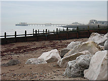 TQ1602 : Beach Defences, Worthing, West Sussex by Roger  Kidd