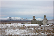 NC5160 : Moine House (ruin) and Ben Loyal in winter by Steven Brown